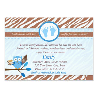 Owl Invitation Baby Boy Shower Blue Brown Zebra