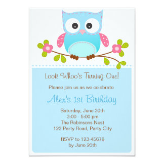 Owl Invitation - Boy 1st Birthday / Baby Shower