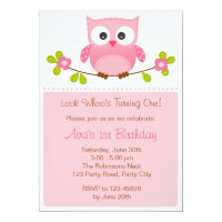 Owl Invitation - Girl 1st Birthday / Baby Shower