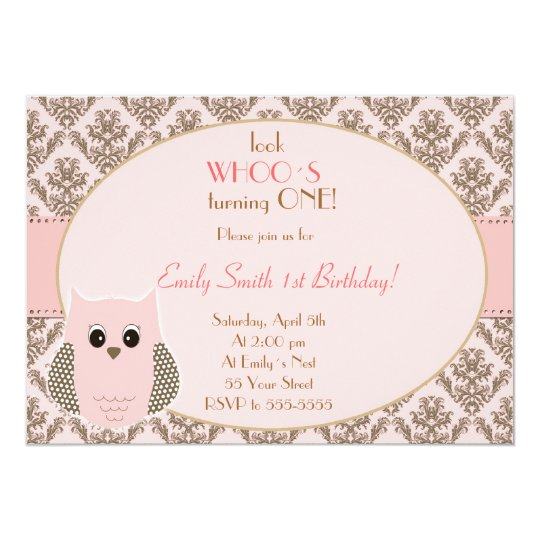 Owl Invitation Girl Birthday Party Pink Gold
