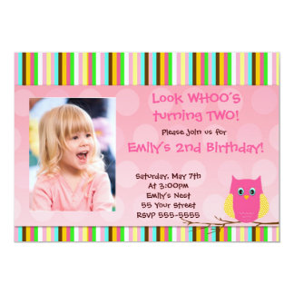 Owl Invitation Girl Birthday Party Stripes Photo