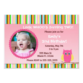 Owl Invitation Girl Birthday Party Stripes Photo
