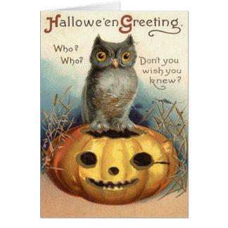 Owl Jack O Lantern Pumpkin Card