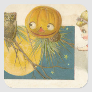 Owl Jack O Lantern Pumpkin Girl Doll Square Sticker