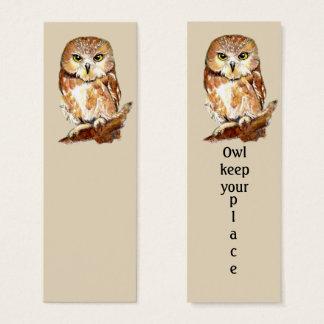 OWL keep your place Fun Bird Bookmark Mini Business Card