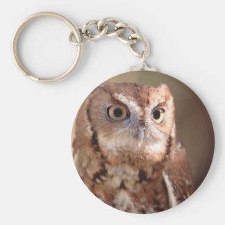owl basic round button key ring
