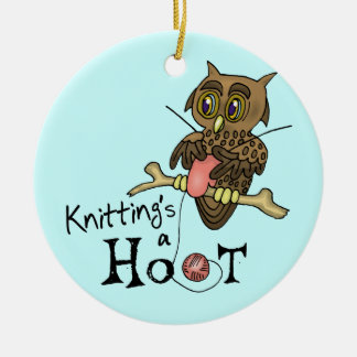 Owl Knitting Christmas Ornament