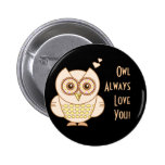 Owl Love 6 Cm Round Badge