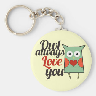 Owl Love Basic Round Button Key Ring