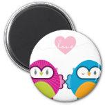 OWL LOVE :: bright girl + boy 6 Cm Round Magnet