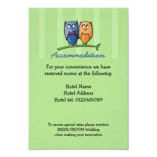 Owl Love green Wedding Enclosure Card 9 Cm X 13 Cm Invitation Card