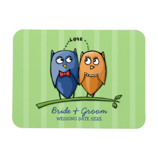 Owl Love green Wedding Favor Premium Magnet