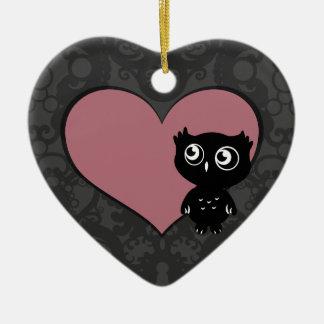 Owl Love I Ceramic Heart Decoration