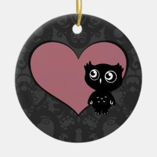 Owl Love I Round Ceramic Decoration
