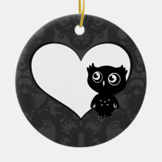 Owl Love IV Round Ceramic Decoration