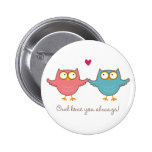 owl love you 6 cm round badge