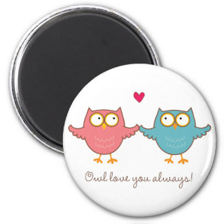owl love you 6 cm round magnet