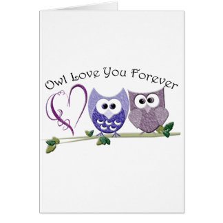 Owl Love You Forever, Cute Owls and Heart Card