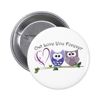 Owl Love You Forever, Cute Owls and Heart design 6 Cm Round Badge