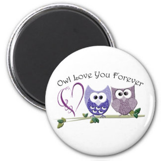 Owl Love You Forever, Cute Owls and Heart design 6 Cm Round Magnet