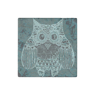 Owl Marble Stone Magnets, Individual Stone Magnet