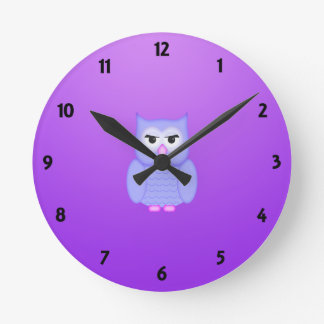 Owl Mauve Learning Round Clock