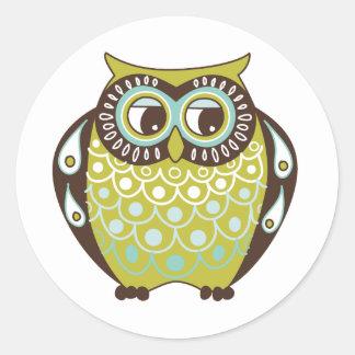 owl meeting round sticker