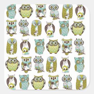 owl meeting square sticker
