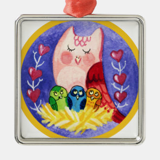 Owl mother of triplets christmas ornament