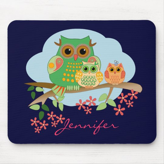 Owl Mum with her kids & Name Mousepad
