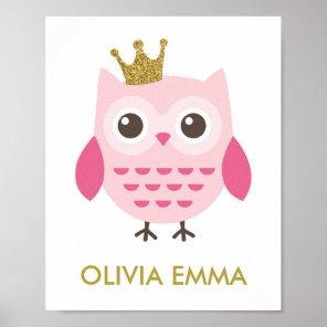 Owl Nursery Art for a Girl Poster