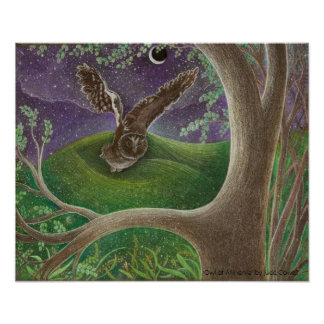 'Owl of Minerva' Art Poster bronze matte uv