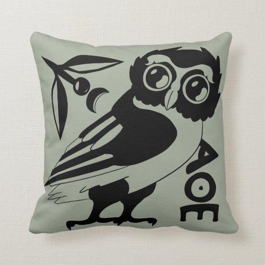 Owl of Minerva Pillow, Green/gray (#a3ac99) Cushion