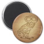 Owl of Wisdom Greek 6 Cm Round Magnet