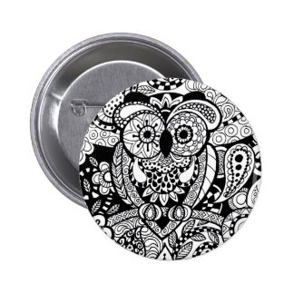 Owl of Wishes Color Your Own Zendoodle Products 6 Cm Round Badge