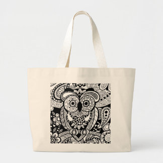 Owl of Wishes Color Your Own Zendoodle Products Jumbo Tote Bag