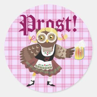 Owl Oktoberfest girl Prost! Round Sticker