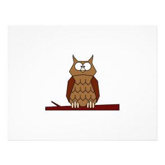 Owl on a branch cartoon flyer