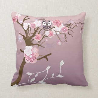 Owl on a cherry blossom tree American MoJo Pillow
