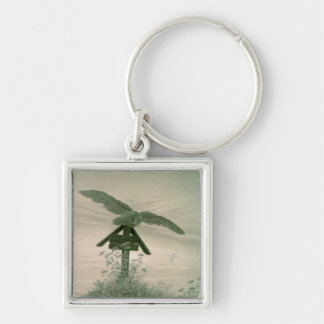 Owl on a Grave, 1836-7 Silver-Colored Square Key Ring