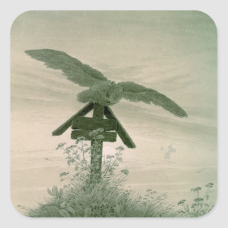 Owl on a Grave, 1836-7 Square Sticker