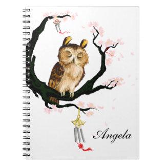 Owl on a sakura notebooks