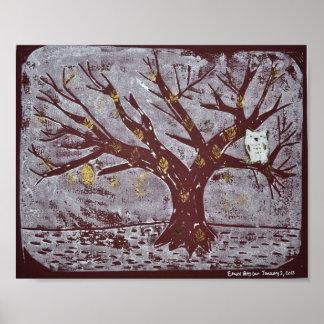 Owl on a Snowy Tree Print