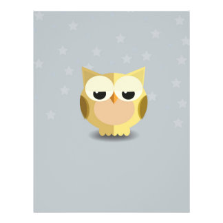Owl on a stary background illustration 21.5 cm x 28 cm flyer