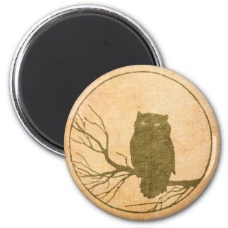 Owl on a tree branch grunge style fridge magnets