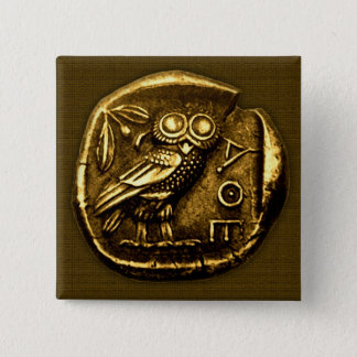 Owl on ancient greek coin 15 cm square badge