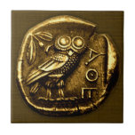 Owl on ancient greek coin ceramic tile