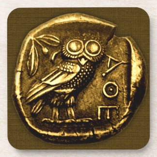 Owl on ancient greek coin coaster