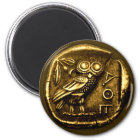 Owl on ancient greek coin magnet