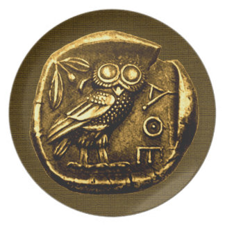 Owl on ancient greek coin plate